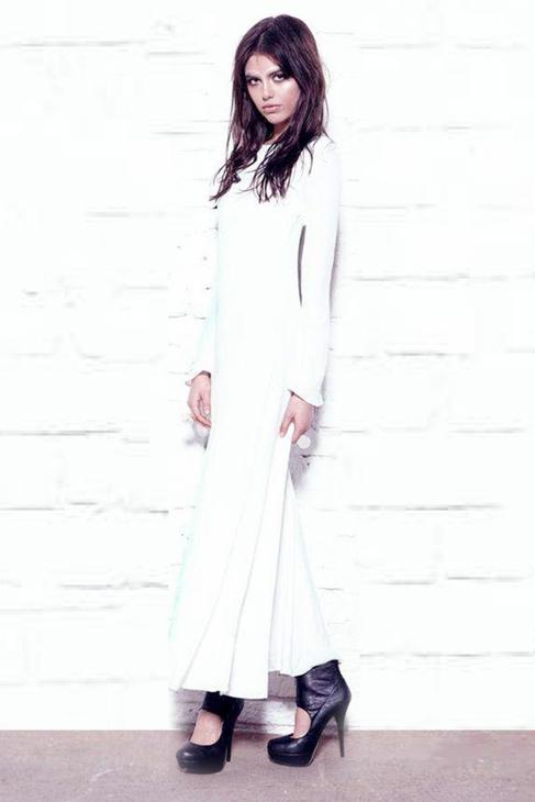 white long sleeve maxi dress czguD4X2
